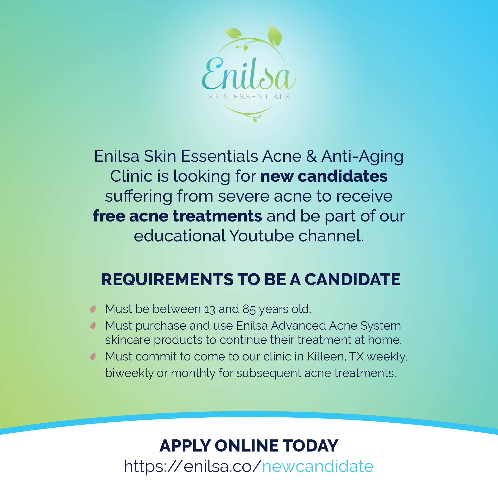 Enilsa Skin Essentials is looking for severe acne candaidates